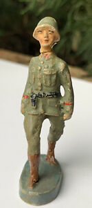 """VINTAGE LINEOL ELASTOLIN GERMANY TOY SOLDIER FIGURE MARCHING 2 3/4"""" TALL"""