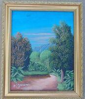 "Original Haiti Art Painting Oil on CANVAS JEAN MYRTHIL 8""X 10"" LANDSCAPE Framed"