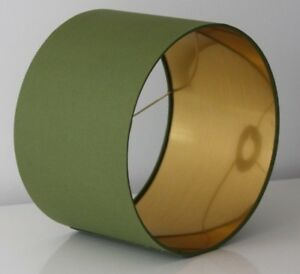 Lampshade, Olive Green Cotton with Brushed Gold Lining