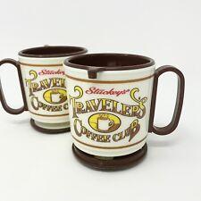 Vintage Stuckeys Travelers Coffee Club Plastic Cup Travel Mug with Lid Set Of 2