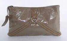 Pringle Of Scotland Taupe Soft Patent Leather Clutch Crossbody Strap Handbag Bag