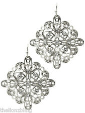 "Spanish style Dangling Silver Filigree Earrings w/ Crystal Bling - 1 3/4"" Drop"
