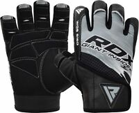 RDX Leather Weight Lifting Gym Gloves Training Fitness Exercise AU