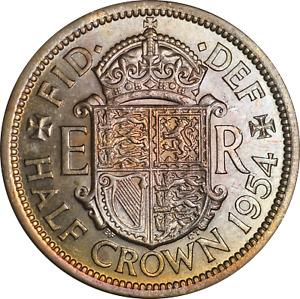 UK Elizabeth II Half Crown Coin 1954 UNC Colourful Tone Artificial?