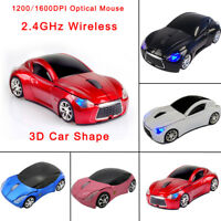 USB 2.4G 3D Wireless Game Mouse Mice Racing Car Shaped Optical fr PC Laptop E5R9