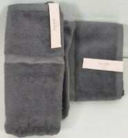 "Kate Spade New York Gray Bath Towels 30""x 56"" Set of 2 NWT"