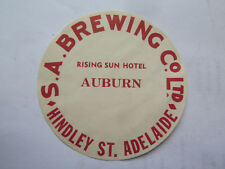 SA BREWING Co RISING SUN HOTEL AUBURN BEER KEG LABEL c1970s SOUTH AUSTRALIA