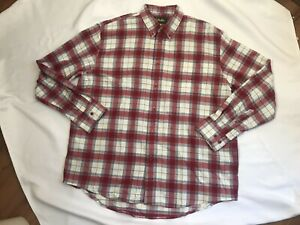 NWT Men's Cabela's Spice Red Plaid Flannel Long Sleeve Shirt Size XL