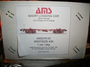 AMS/ACCUCRAFT TRAINS, LOGGING TRAIN CAR..  G SCALE-NEW METAL WHEELS