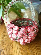 Folk art Coca-Cola bottle caps basket with handle amazing wire wrap unsigned