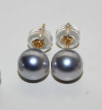 6.5-7mm JAPANESE Aurora Madama grey PEARL EARRINGS 18K solid gold