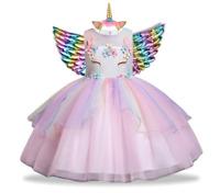 Girl Unicorn Costume Tutu Dress Party Kids Fancy Rainbow Wings Princess Birthday