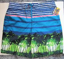 NWT Joe Boxer Swim Bathing Suit Trunks Shorts 4 Pockets Blue Green Palms Men XL