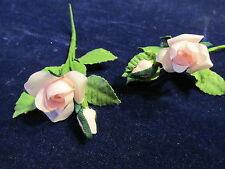 """Millinery Flower Pink 1"""" Rose + 3/8"""" Bud Lot of 2 for Hat Wedding or Hair Y165b"""