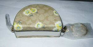NEW With Tag Coach Crescent Pouch Bag Charm  Signature Canvas DAISY PRINT C3127