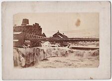 RARE Old Albumen Photo - Watertown NY - Frozen Water Bridge Buildings 1885