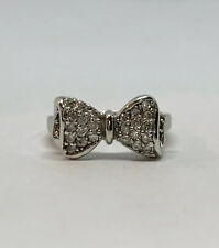 925 Sterling Silver Clear Round  Cubic Zirconia Cluster Bow Tie Ring Size US 7