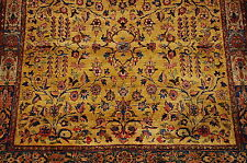 c1910's ANTIQUE FINE SILK SQUARE PERSIAN KASHAN MOHTASHAM RUG 3.3x3.4 MINT_RARE