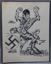 "Arthur Szyk Original WWII Cartoon Ink Drawing ""Berlin Sportpalast"" Signed 1942"