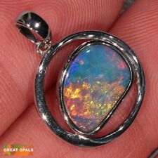 13.9ct AUSTRALIAN GEM FIRE OPAL INLAID STERLING SILVER PENDANT NECKLACE & CHAIN