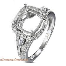 8.0mm Cushion Cut Solid 14K White Gold Natural Diamond Semi Mount Ring Setting
