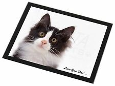 Black, White Cat 'Love You Dad' Black Rim Glass Placemat Animal Table, DAD-161GP