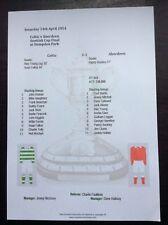 1953-54 Scottish Cup Final Celtic v Aberdeen matchsheet