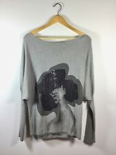 ADAM JACOBS Gray Black Sequin Pull Over Sweater Size Medium