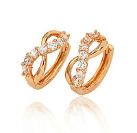 18k 18ct Yellow Gold Filled GF CZ Hoop Hoggies Wedding Woman Earrings E-A538
