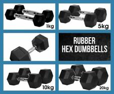 8kg Pair A-GRADE CLUB Series Commercial Rubber Hex Dumbbells Gym Weights