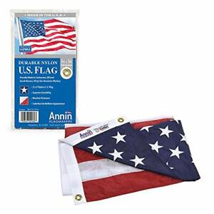 Annin Flagmakers Model 2460 American Flag Nylon SolarGuard NYL-Glo, 3x5 ft