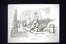Incisione d'allegoria e satira Francia, Oudinot, Civitavecchia Don Pirlone 1851