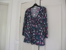 Ladies Top with Cami  under Size Large  Design Harry 3/4 Sleeves Blues,Grey