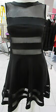 Dress Large Black Sheer Peep Neckline Hemline and Waist Sexy Mini NWT DC945