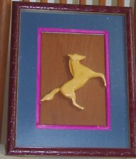 Wood handcrafted Horse by TRANTHAM, Winter Heaven, FL - 1976 - mounted on wood b