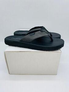 Flojos MEN's Memory Foam Thongs Flip Flops Slide Sandals Grey / Black       (#1)