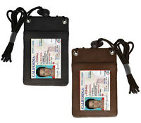 Genuine Leather ID Badge Holder Neck Strap Travel Lanyard Cross Body Bag Wallet