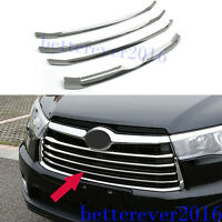 fits 2014 2015 2016 Toyota Highlander ABS Chrome Front Grille Insert Trim Cover