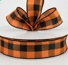 "🍂 5 Yds X 1.5"" Wide Black & Orange Buffalo Check Linen Wired Ribbon"