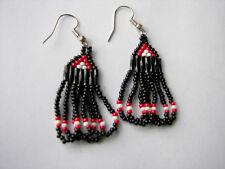 "Seed beaded Earrings Handcrafted red/ white /black Looped Dangled 1 1/2"""