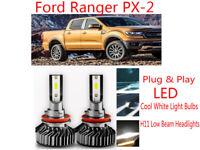 Ford Ranger White LED Headlight Bulbs, H7/H11 Low Beam PXII PX2 Wildtrak/XLT/FX4