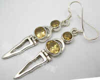 "925 Solid Silver Yellow CITRINE 2 STONE LONG Drop Dangle Earrings 2.2"" 6.6 Grams"