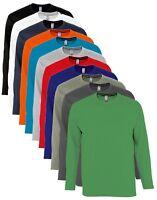 Manches Longues Coton Gris Vert Rouge Bleu T-Shirt S-XXXL +4XL+5XL