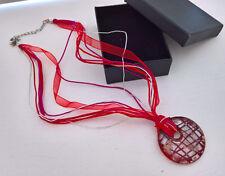 Halskette mit Glas Anhänger  runde Form rot - farbig Stoff Halband Kette