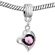 Pugster European charm bead- Silver heart dangle with purple February crystal