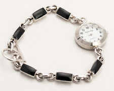 INFINITY: WOMENS STERLING SILVER 925 BLACK ENAMEL LINKS ANALOG QUARTZ WATCH