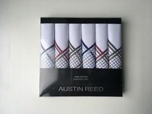 Austin Reed Mens Pure Cotton White Patterned Stripe Hankies 6 pk Ideal Gift