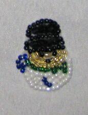 "Decorative Fancy Craft 1 1/4"" Bead Sequin SNOWMAN Patch"