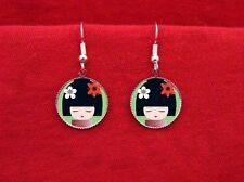 KOKESHI DOLL JAPANESE GEISHA 2 EARRINGS FLOWERS KAWAII