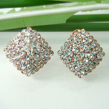 Navachi Rhombus Square 18K Rose GP Crystal Clip-Stand Ear Stud Earrings BH2731
